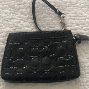 Coach wristlet black patent leather small